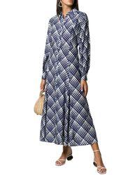RIXO London 3/4-sleeve Print Silk-blend Dress - Blue