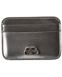 Balenciaga Bb Metallized Leather Card Holder - Black