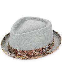 22138fe68a40c3 Robert Graham - Reoti Textured & Printed Cotton Fedora Hat - Lyst