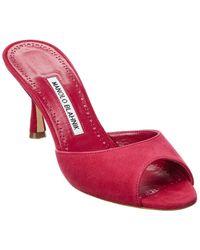 Manolo Blahnik Jada 70 Suede Sandal - Pink