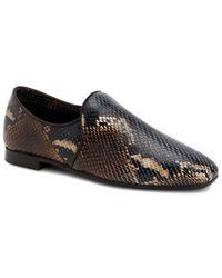 Aquatalia Revy Weatherproof Snake-embossed Leather Loafer - Brown