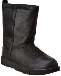UGG Women's Classic Short Waterproof Leather Boot - Black