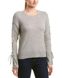 White + Warren Wool & Cashmere-blend Lace-up Sleeve Jumper - Gray
