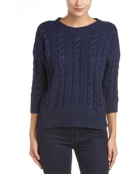 Three Dots Miranda 3/4-sleeve Cropped Sweater - Blue