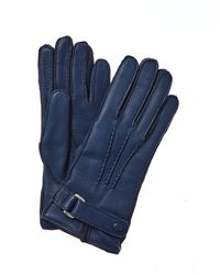 Portolano Belted Cashmere-lined Leather Gloves - Brown