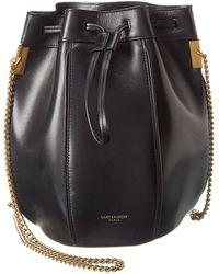 Saint Laurent Talitha Small Leather Bucket Bag - Black