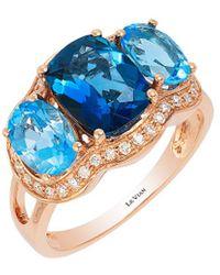 Le Vian 14k Rose Gold 4.07 Ct. Tw. Diamond & Blue Topaz Ring