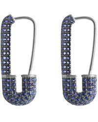 Gabi Rielle Cz Sapphire Safety Pin Pave Earrings - Metallic