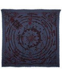 Hermès Blue & Red Printed Silk-blend Scarf