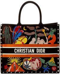 Dior Embroidered Suede Book Tote - Multicolour