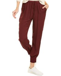 Theory Rib Cuff Silk Jogger Pant - Red