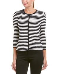 St. John - Two-toned Striped Knit Cardigan - Lyst