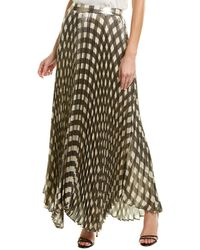 Alice + Olivia Metallic Pleated Silk-blend Maxi Skirt - White