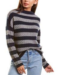 Autumn Cashmere Stripe Cable Cashmere Sweater - Blue