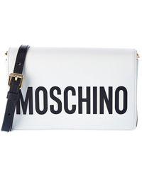 Moschino Logo Printed Leather Crossbody - White