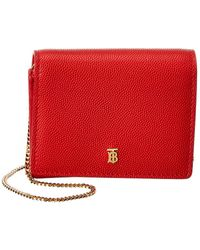 Burberry Jade Grainy Leather Card Case On Chain - Red
