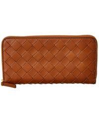 Bottega Veneta Bottega Venetta Intrecciato Leather Zip Around Wallet - Brown