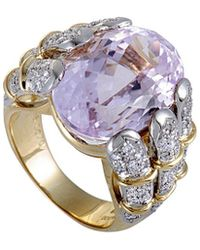 Heritage 18k Two-tone 18.05 Ct. Tw. Diamond & Kunzite Ring - Metallic