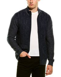 Forte Cashmere Plaited 1/4-zip Mock Neck Sweater - Blue