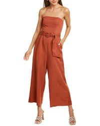 Astr Kona Linen-blend Jumpsuit - Red