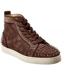 Christian Louboutin Lou Spikes 2 Suede Sneaker - Grey