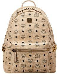 MCM Stark Medium Studded Visetos Backpack - Brown