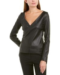 Theory Fitted Leather Wrap Jacket - Black
