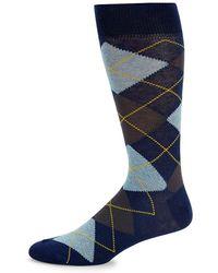Saks Fifth Avenue Argyles Crew Socks - Blue