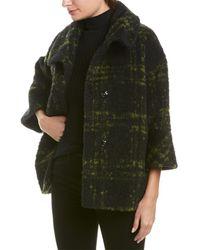 Cinzia Rocca Plaid Wool-blend Coat - Green