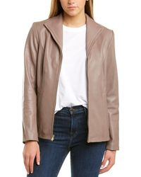 Cole Haan Wing Collar Leather Jacket - Brown