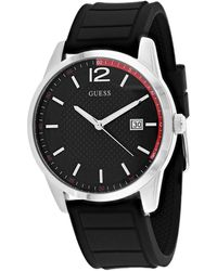 Guess Perry Black Dial Black Silicone Mens Watch