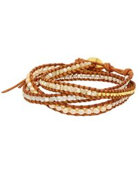 Chan Luu 18k Over Silver 4mm Mother-of-pearl, Pearl, & Leather Wrap Bracelet - Metallic