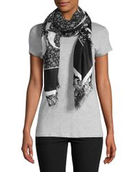 McQ - Fray-trimmed Graphic Scarf - Lyst