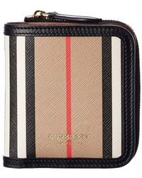Burberry - Icon Stripe E-canvas & Leather Card Case - Lyst