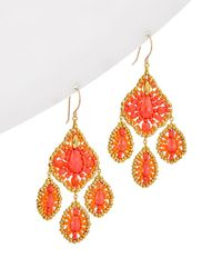 Miguel Ases 18k Plated Beaded Chandelier Earrings - Multicolour