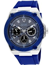 Guess Legacy Blue Dial Blue Silicone Mens Watch