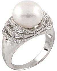 Splendid - Rhodium Plated 10-10.5mm Pearl Ring - Lyst