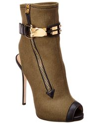 Giuseppe Zanotti Roxie Denim & Leather Peep-toe Bootie - Green