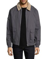 Zanerobe Sherpa Plush Collar Cotton Jacket - Gray