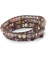 Chan Luu - Botswana Agate, Grey Onyx, Swarovski Crystal, Leather & Sterling Silver Bracelet - Lyst