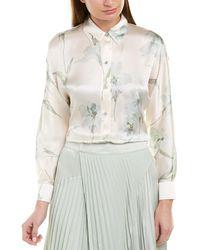 Vince Iris Print Long Sleeve Blouse - White