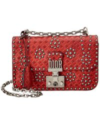 Dior Addict Studded Leather Flap Bag - Red