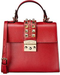 Valentino By Mario Valentino Cleo Palmellato Leather Satchel - Red