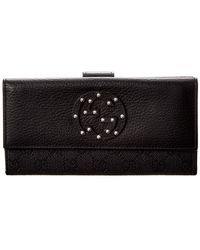 Gucci Black GG Canvas & Studded Leather Wallet