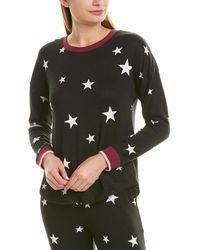 Kensie Star Printed Brushed Jersey Knit Sleep Top - Black