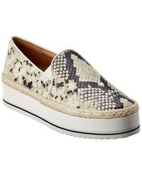 Joie Huxley Snake-embossed Leather Trainer - White