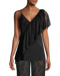 Diane von Furstenberg Asymmetric Ruffle Lace Camisole - Black