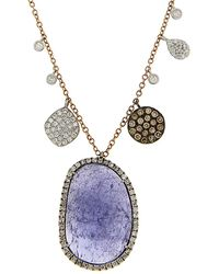 Meira T 14k Rose Gold 12.15 Ct. Tw. Diamond & Tanzanite Necklace - Metallic