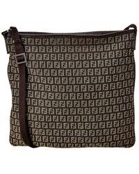 Fendi Brown Zucchino Canvas Shoulder Bag