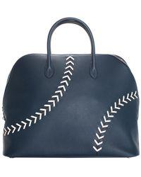 Hermès 1923 Blue Evercolor Leather Baseball Bolide Weekender Bag, Never Carried